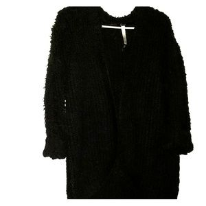 Black Fuzzy - •Kensie• | Plush Cardigan - Sweater